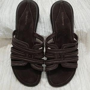Liz Clairborne brown leather strappy sandals 9